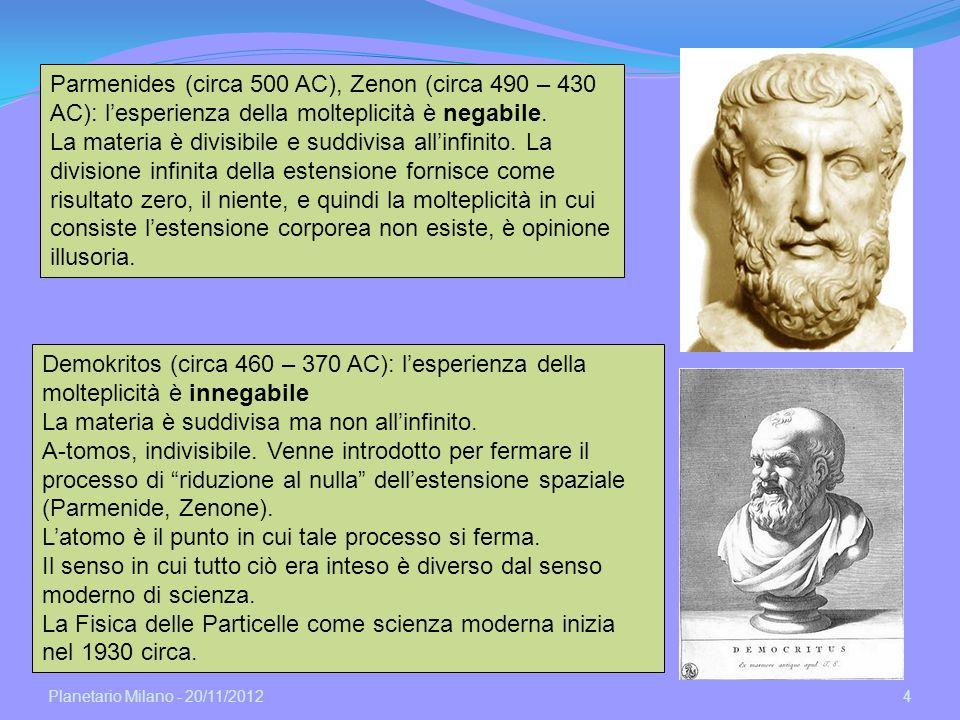 Planetario Milano - 20/11/2012 4 Parmenides (circa 500 AC), Zenon (circa 490 – 430 AC): lesperienza della molteplicità è negabile. La materia è divisi