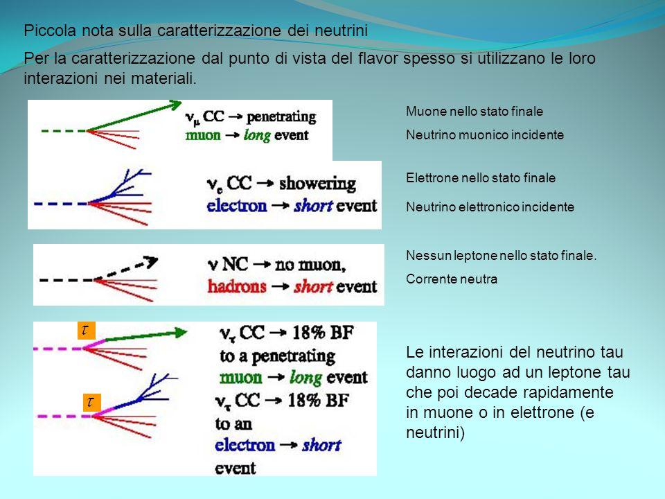 Piccola nota sulla caratterizzazione dei neutrini Per la caratterizzazione dal punto di vista del flavor spesso si utilizzano le loro interazioni nei