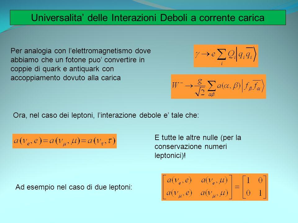 Universalita delle Interazioni Deboli a corrente carica Per analogia con lelettromagnetismo dove abbiamo che un fotone puo convertire in coppie di qua
