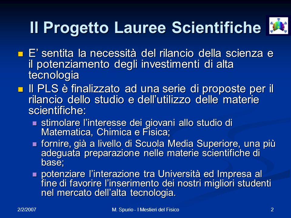 2/2/2007 2M. Spurio - I Mestieri del Fisico Il Progetto Lauree Scientifiche E sentita la necessità del rilancio della scienza e il potenziamento degli