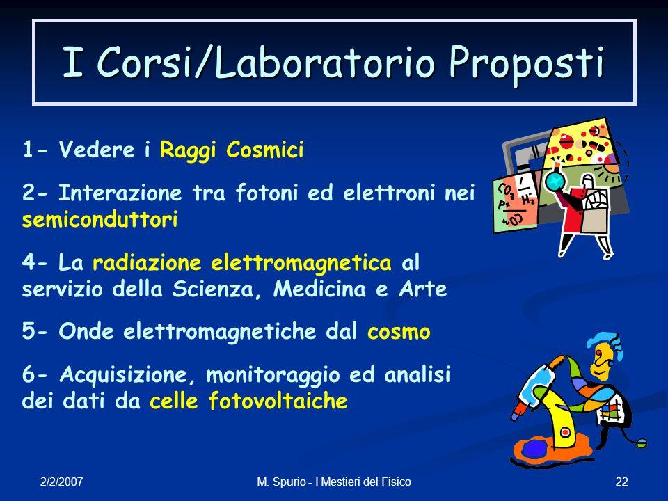 2/2/2007 22M. Spurio - I Mestieri del Fisico I Corsi/Laboratorio Proposti 1- Vedere i Raggi Cosmici 2- Interazione tra fotoni ed elettroni nei semicon