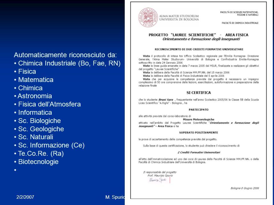 2/2/2007 25M. Spurio - I Mestieri del Fisico Automaticamente riconosciuto da: Chimica Industriale (Bo, Fae, RN) Fisica Matematica Chimica Astronomia F