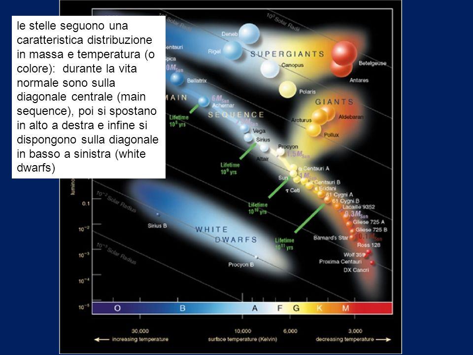 le stelle seguono una caratteristica distribuzione in massa e temperatura (o colore): durante la vita normale sono sulla diagonale centrale (main sequ
