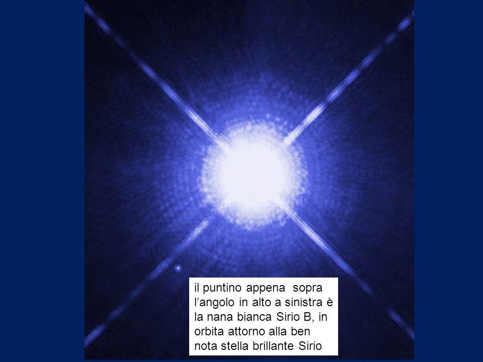 il puntino appena sopra langolo in alto a sinistra è la nana bianca Sirio B, in orbita attorno alla ben nota stella brillante Sirio