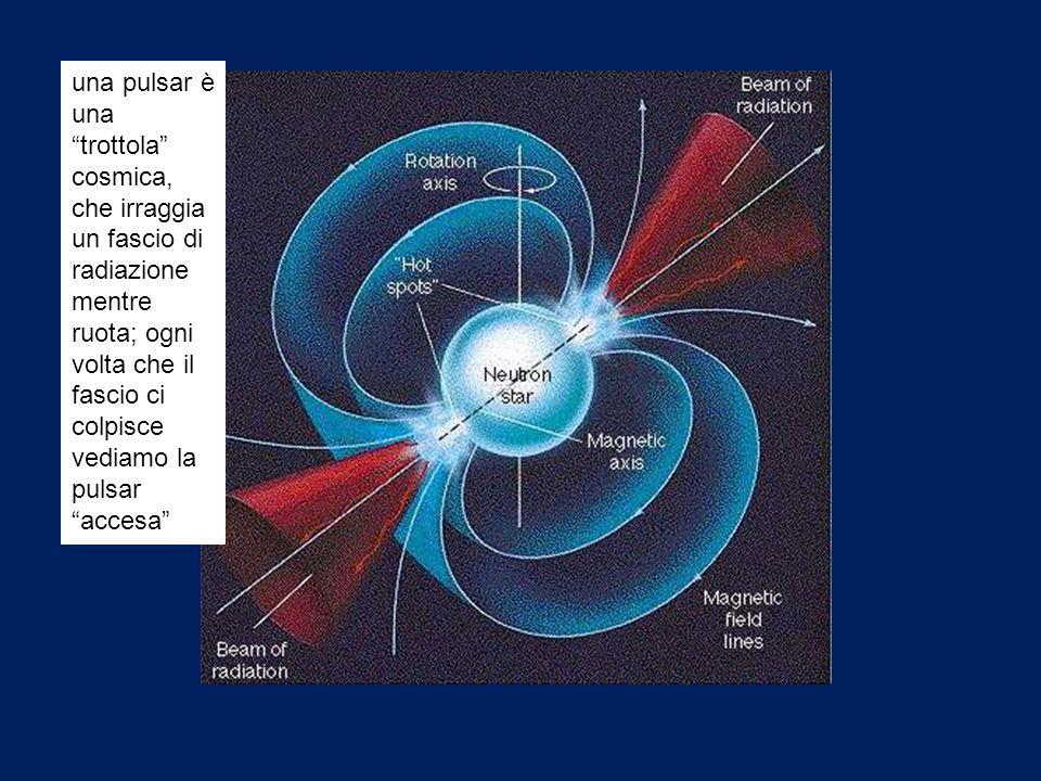 una pulsar è una trottola cosmica, che irraggia un fascio di radiazione mentre ruota; ogni volta che il fascio ci colpisce vediamo la pulsar accesa