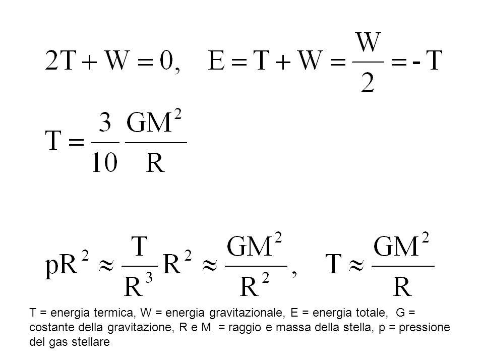T = energia termica, W = energia gravitazionale, E = energia totale, G = costante della gravitazione, R e M = raggio e massa della stella, p = pressio