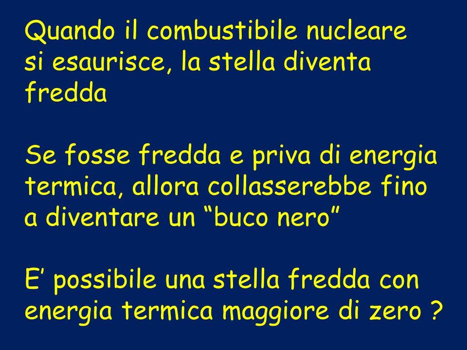 Quando il combustibile nucleare si esaurisce, la stella diventa fredda Se fosse fredda e priva di energia termica, allora collasserebbe fino a diventa