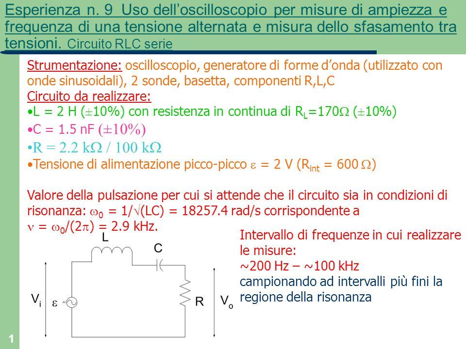 1 Esperienza n. 9 Uso delloscilloscopio per misure di ampiezza e frequenza di una tensione alternata e misura dello sfasamento tra tensioni. Circuito
