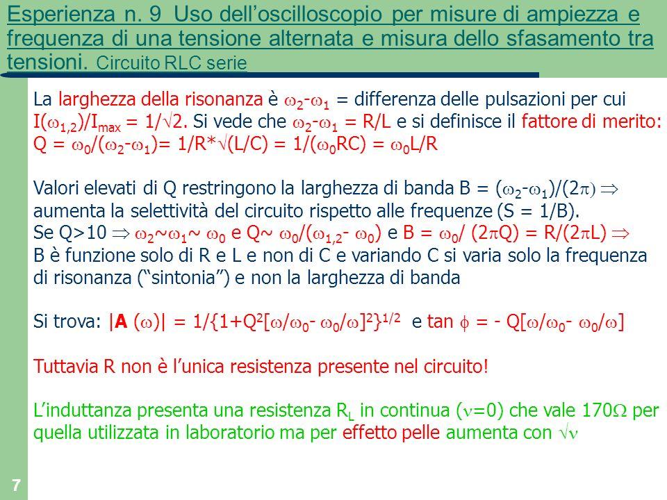 7 Esperienza n. 9 Uso delloscilloscopio per misure di ampiezza e frequenza di una tensione alternata e misura dello sfasamento tra tensioni. Circuito