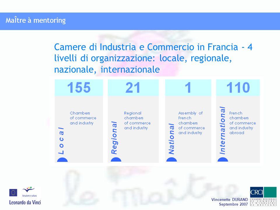 MaÎtre à mentoring Vincenette DURAND Septembre 2007 Camere di Industria e Commercio in Francia - 4 livelli di organizzazione: locale, regionale, nazionale, internazionale MaÎtre à mentoring