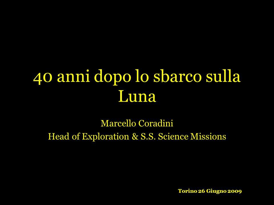 40 anni dopo lo sbarco sulla Luna Marcello Coradini Head of Exploration & S.S. Science Missions Torino 26 Giugno 2009