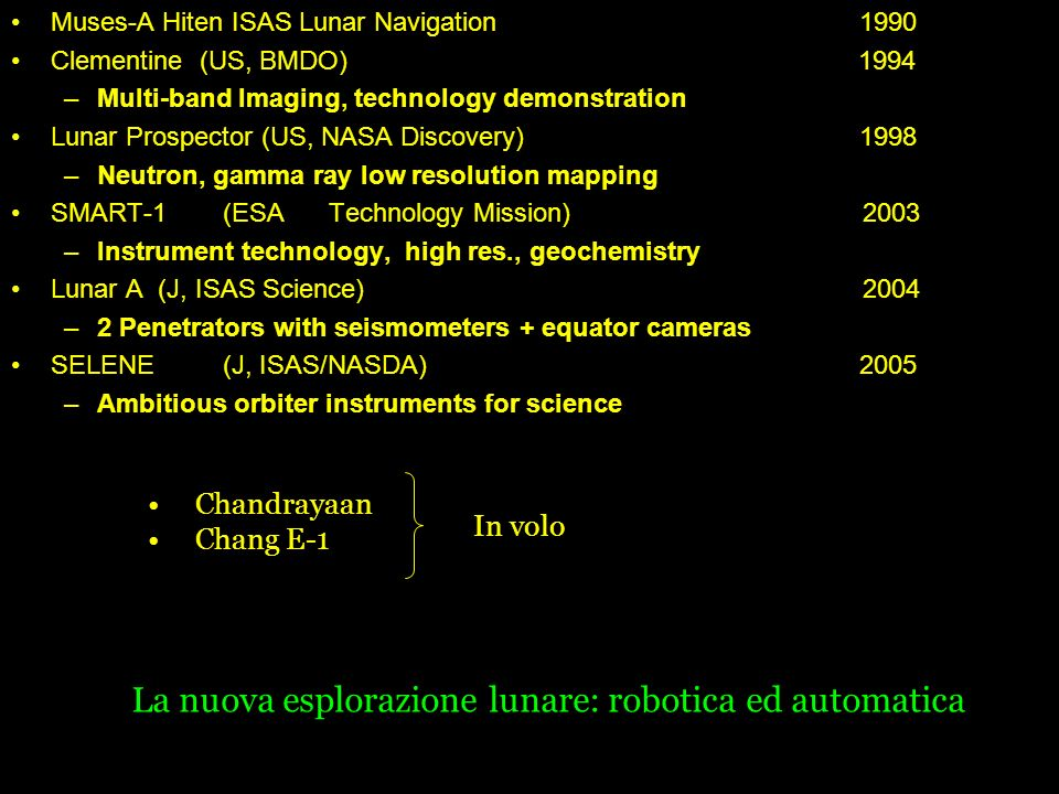 International Lunar Exploration Missions Muses-A Hiten ISAS Lunar Navigation 1990 Clementine (US, BMDO)1994 –Multi-band Imaging, technology demonstrat