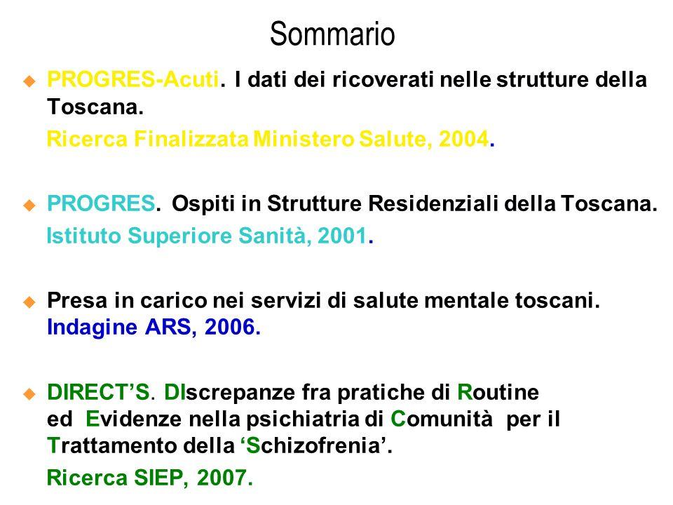 Sommario PROGRES-Acuti. I dati dei ricoverati nelle strutture della Toscana. Ricerca Finalizzata Ministero Salute, 2004. PROGRES. Ospiti in Strutture