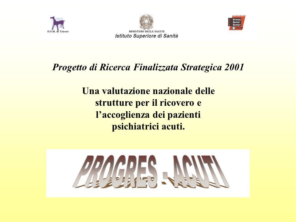 Progetto di Ricerca Finalizzata Strategica 2001 Una valutazione nazionale delle strutture per il ricovero e laccoglienza dei pazienti psichiatrici acu