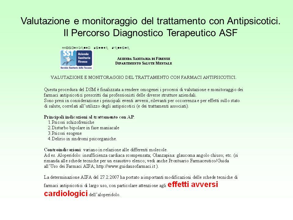 Valutazione e monitoraggio del trattamento con Antipsicotici. Il Percorso Diagnostico Terapeutico ASF