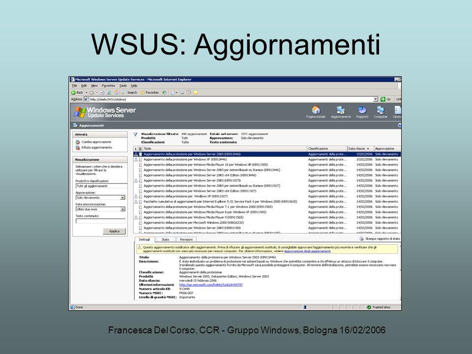 Francesca Del Corso, CCR - Gruppo Windows, Bologna 16/02/2006 WSUS: Aggiornamenti