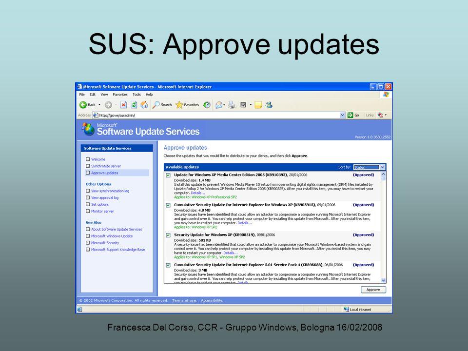 Francesca Del Corso, CCR - Gruppo Windows, Bologna 16/02/2006 SUS: Approve updates