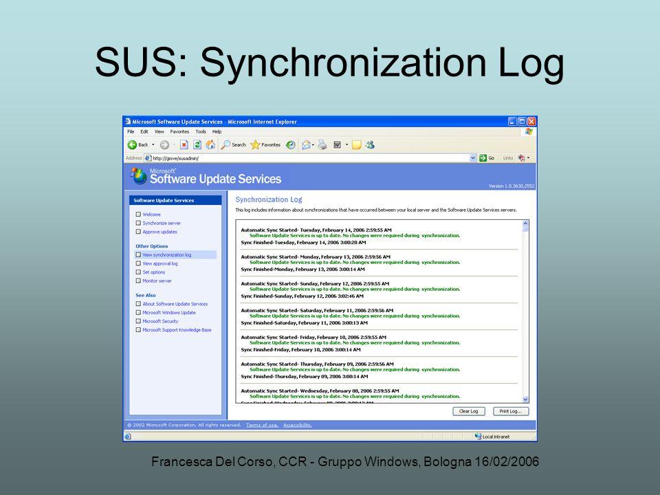 Francesca Del Corso, CCR - Gruppo Windows, Bologna 16/02/2006 SUS: Synchronization Log