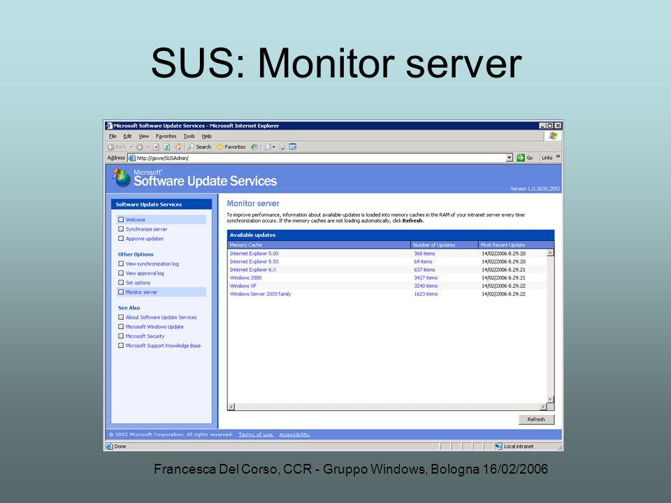 Francesca Del Corso, CCR - Gruppo Windows, Bologna 16/02/2006 SUS: Monitor server