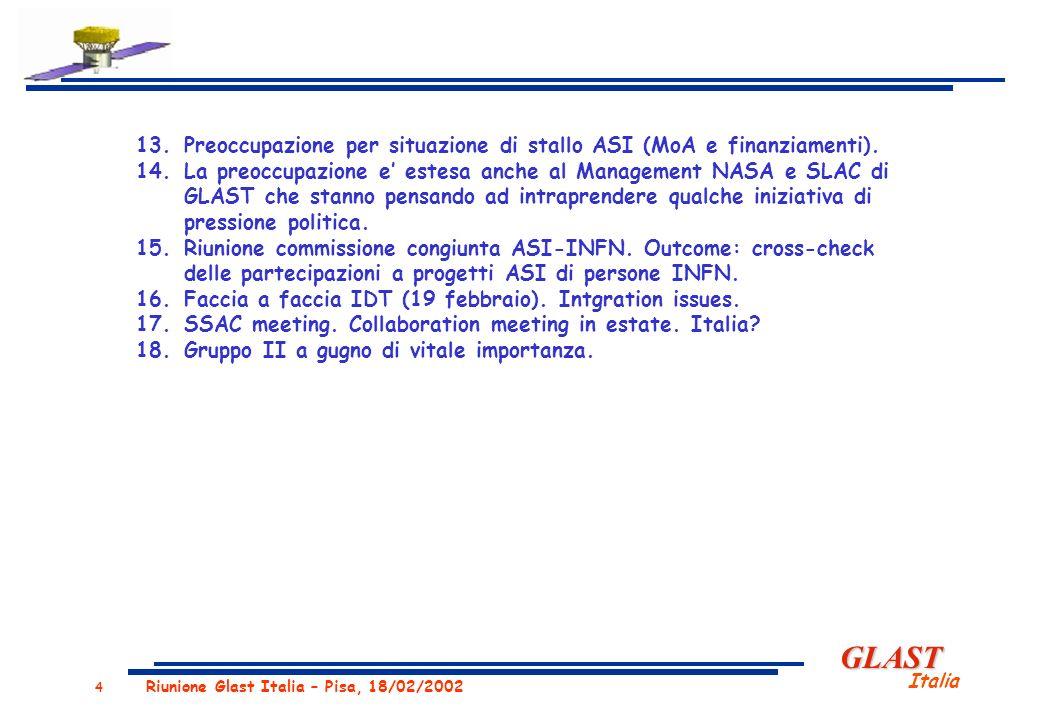 GLAST Italia 4 Riunione Glast Italia – Pisa, 18/02/2002 13.Preoccupazione per situazione di stallo ASI (MoA e finanziamenti).