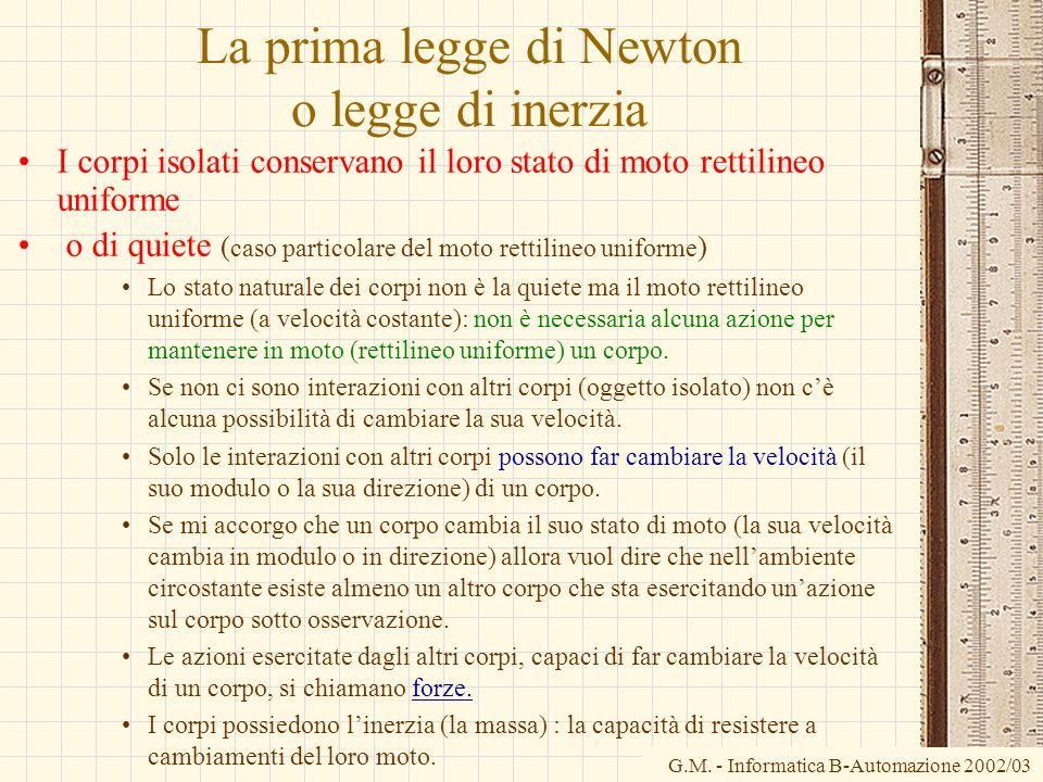 G.M. - Informatica B-Automazione 2002/03 La prima legge di Newton o legge di inerzia I corpi isolati conservano il loro stato di moto rettilineo unifo