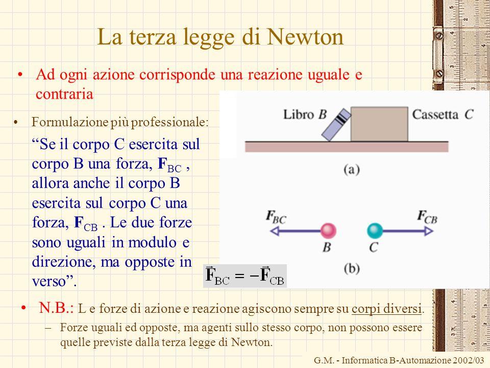 G.M. - Informatica B-Automazione 2002/03 La terza legge di Newton Ad ogni azione corrisponde una reazione uguale e contraria Formulazione più professi