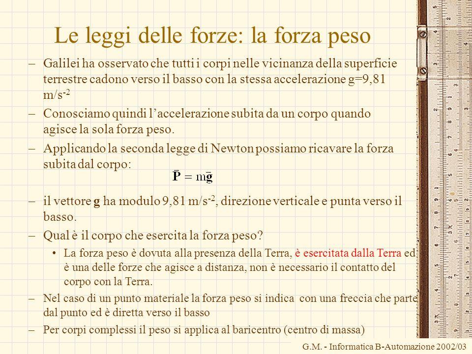 G.M. - Informatica B-Automazione 2002/03 Le leggi delle forze: la forza peso –Galilei ha osservato che tutti i corpi nelle vicinanza della superficie