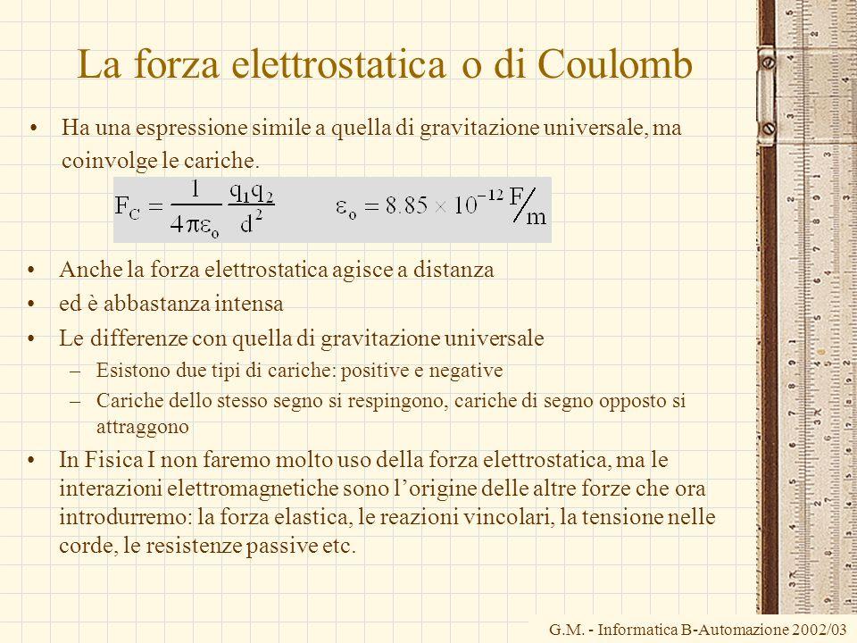 G.M. - Informatica B-Automazione 2002/03 La forza elettrostatica o di Coulomb Ha una espressione simile a quella di gravitazione universale, ma coinvo
