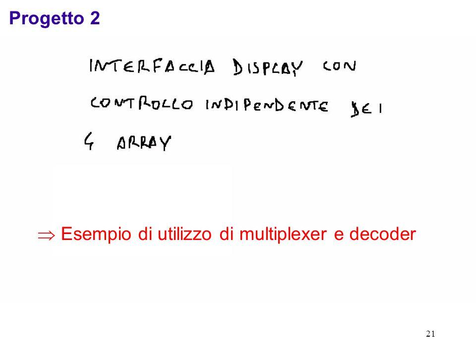 21 Progetto 2 Esempio di utilizzo di multiplexer e decoder