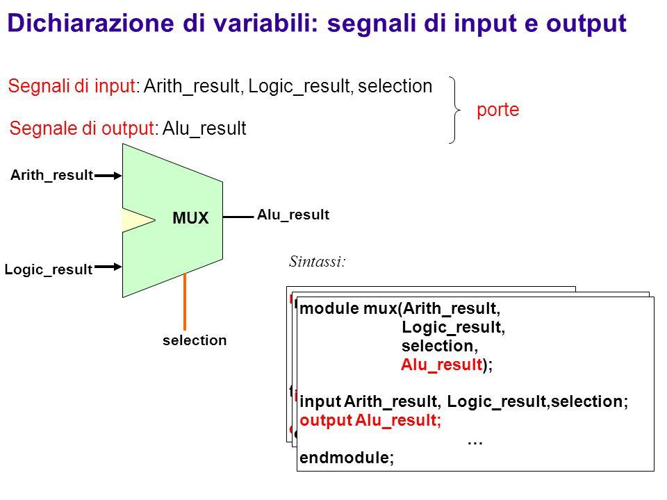 55 MUX Arith_result Alu_result selection module mux(Arith_result, Logic_result, selection, Alu_result); funzionalità … endmodule; Sintassi: Logic_resu