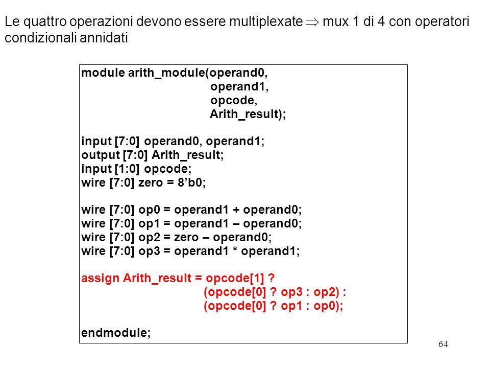 64 Le quattro operazioni devono essere multiplexate mux 1 di 4 con operatori condizionali annidati module arith_module(operand0, operand1, opcode, Ari