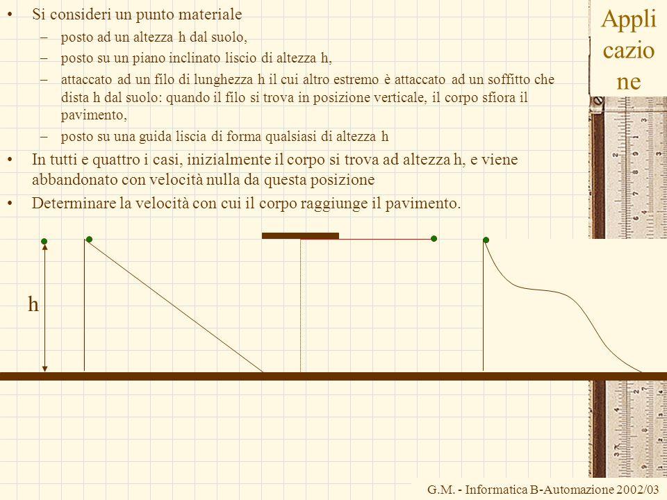 G.M. - Informatica B-Automazione 2002/03 Appli cazio ne Si consideri un punto materiale –posto ad un altezza h dal suolo, –posto su un piano inclinato