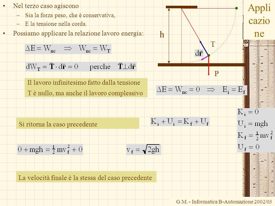 G.M. - Informatica B-Automazione 2002/03 Appli cazio ne Nel terzo caso agiscono –Sia la forza peso, che è conservativa, –E la tensione nella corda. Po