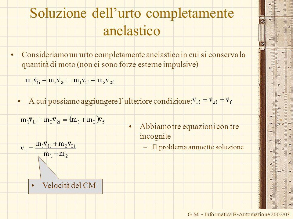 G.M. - Informatica B-Automazione 2002/03 Soluzione dellurto completamente anelastico Consideriamo un urto completamente anelastico in cui si conserva