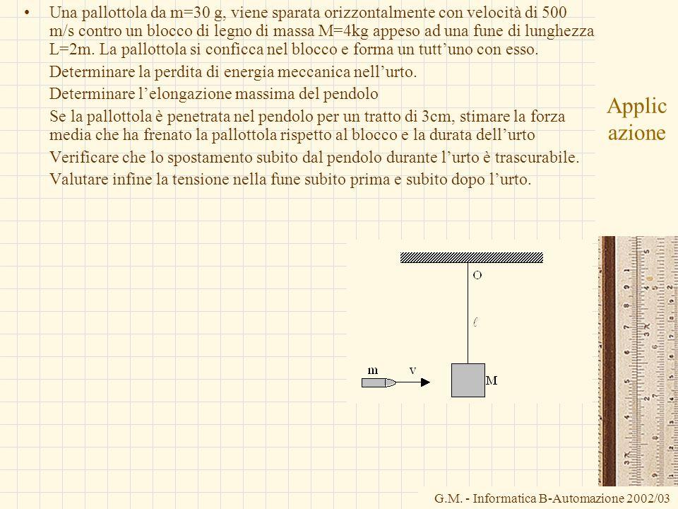 G.M. - Informatica B-Automazione 2002/03 Applic azione Una pallottola da m=30 g, viene sparata orizzontalmente con velocità di 500 m/s contro un blocc