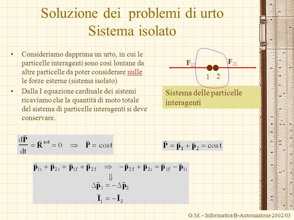 G.M. - Informatica B-Automazione 2002/03 Soluzione dei problemi di urto Sistema isolato Consideriamo dapprima un urto, in cui le particelle interagent