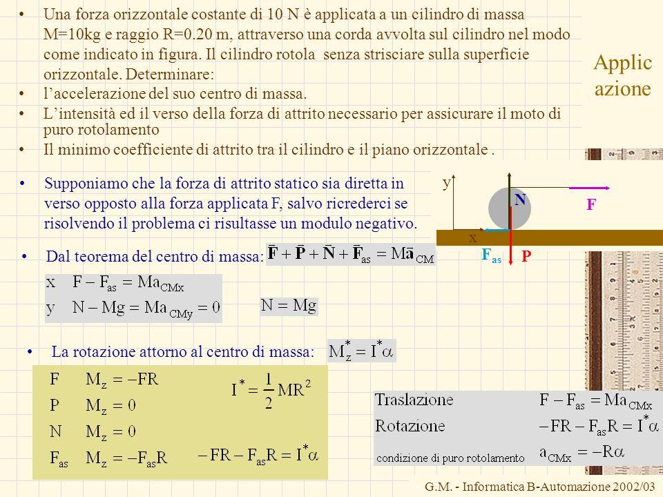 G.M. - Informatica B-Automazione 2002/03 Applic azione Una forza orizzontale costante di 10 N è applicata a un cilindro di massa M=10kg e raggio R=0.2