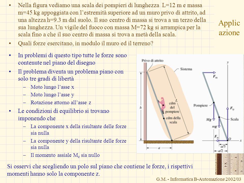 G.M. - Informatica B-Automazione 2002/03 Applic azione Nella figura vediamo una scala dei pompieri di lunghezza L=12 m e massa m=45 kg appoggiata con