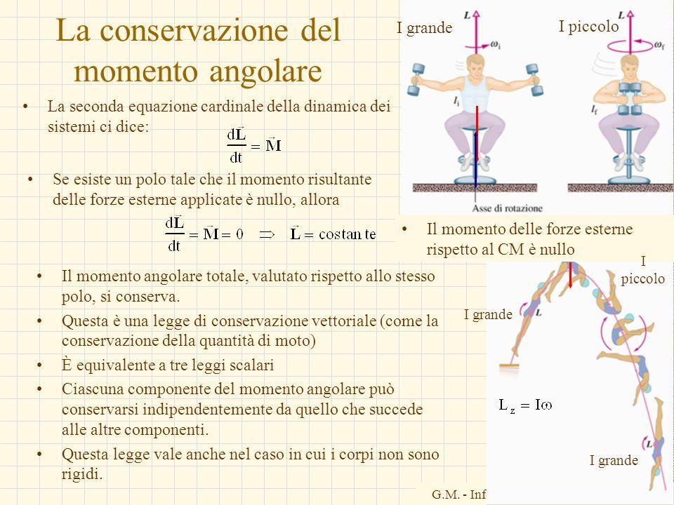 G.M. - Informatica B-Automazione 2002/03 La conservazione del momento angolare La seconda equazione cardinale della dinamica dei sistemi ci dice: Se e