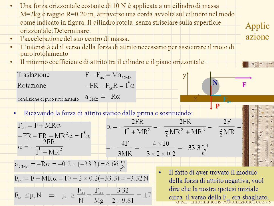 G.M. - Informatica B-Automazione 2002/03 Applic azione Una forza orizzontale costante di 10 N è applicata a un cilindro di massa M=2kg e raggio R=0.20