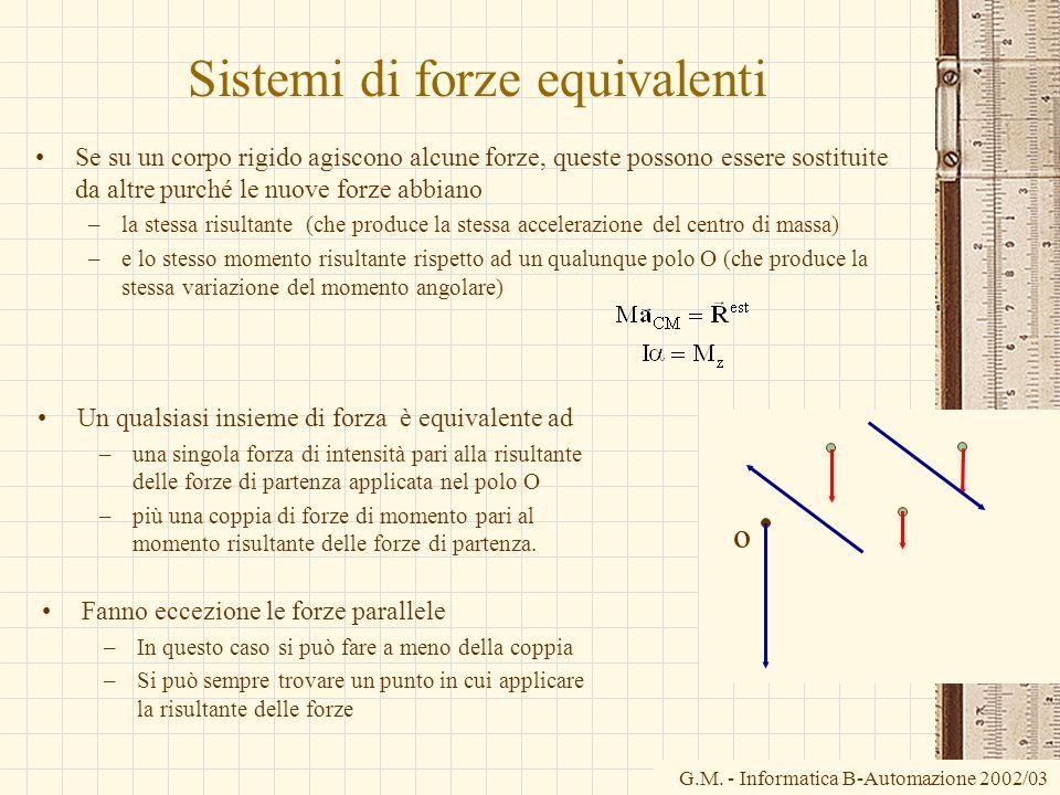 G.M. - Informatica B-Automazione 2002/03 o Sistemi di forze equivalenti Se su un corpo rigido agiscono alcune forze, queste possono essere sostituite
