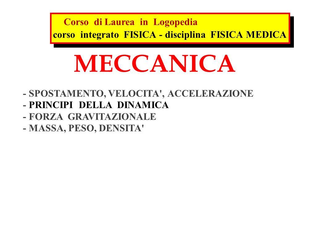 MECCANICA - SPOSTAMENTO, VELOCITA', ACCELERAZIONE - PRINCIPI DELLA DINAMICA - FORZA GRAVITAZIONALE - MASSA, PESO, DENSITA' corso integrato FISICA - di