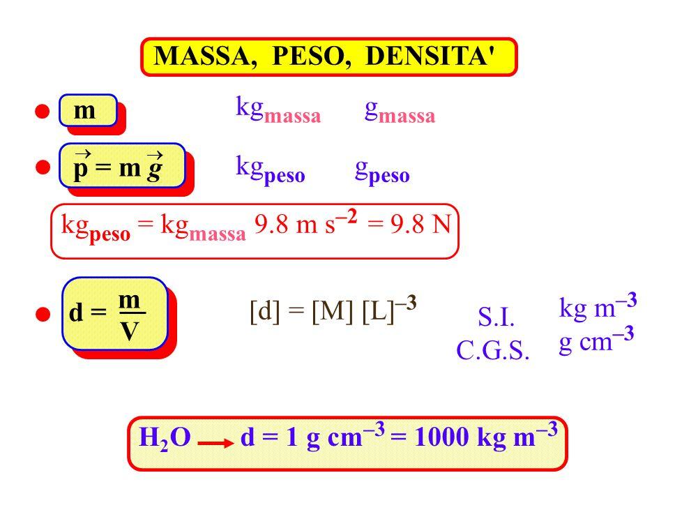 MASSA, PESO, DENSITA' kg massa g massa m kg peso g peso p = m g kg peso = kg massa 9.8 m s –2 = 9.8 N [d] = [M] [L] –3 d = m V kg m –3 g cm –3 S.I. C.