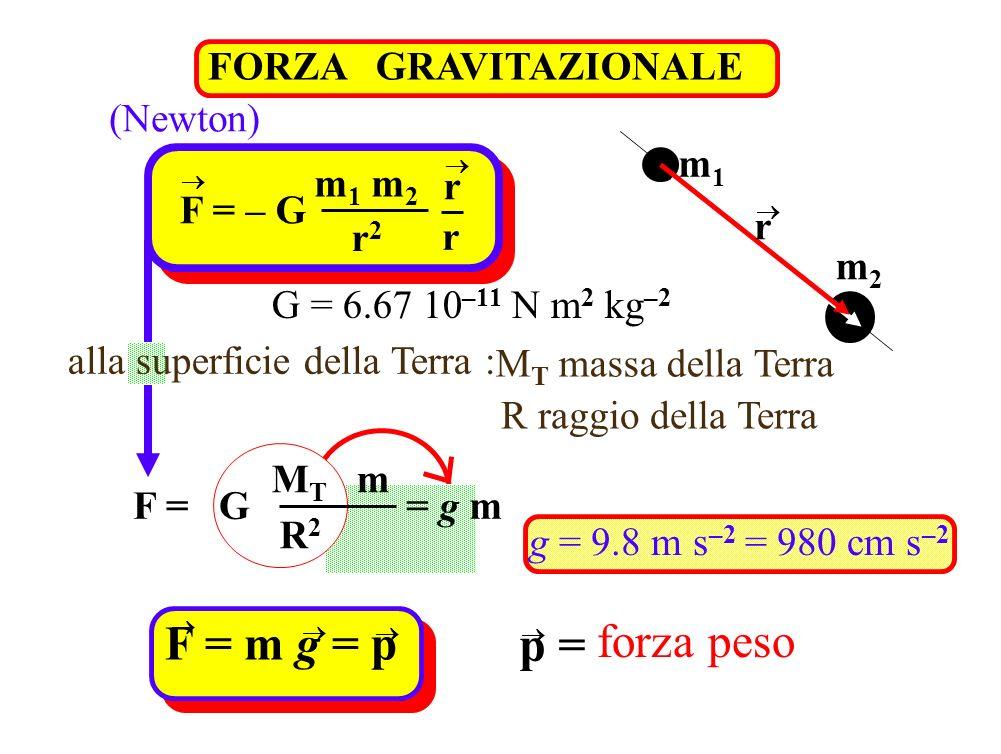 FORZA GRAVITAZIONALE (Newton) m1m1 m2m2 r F = – G m 1 m 2 r2r2 r r G = 6.67 10 –11 N m 2 kg –2 M T massa della Terra R raggio della Terra g = 9.8 m s