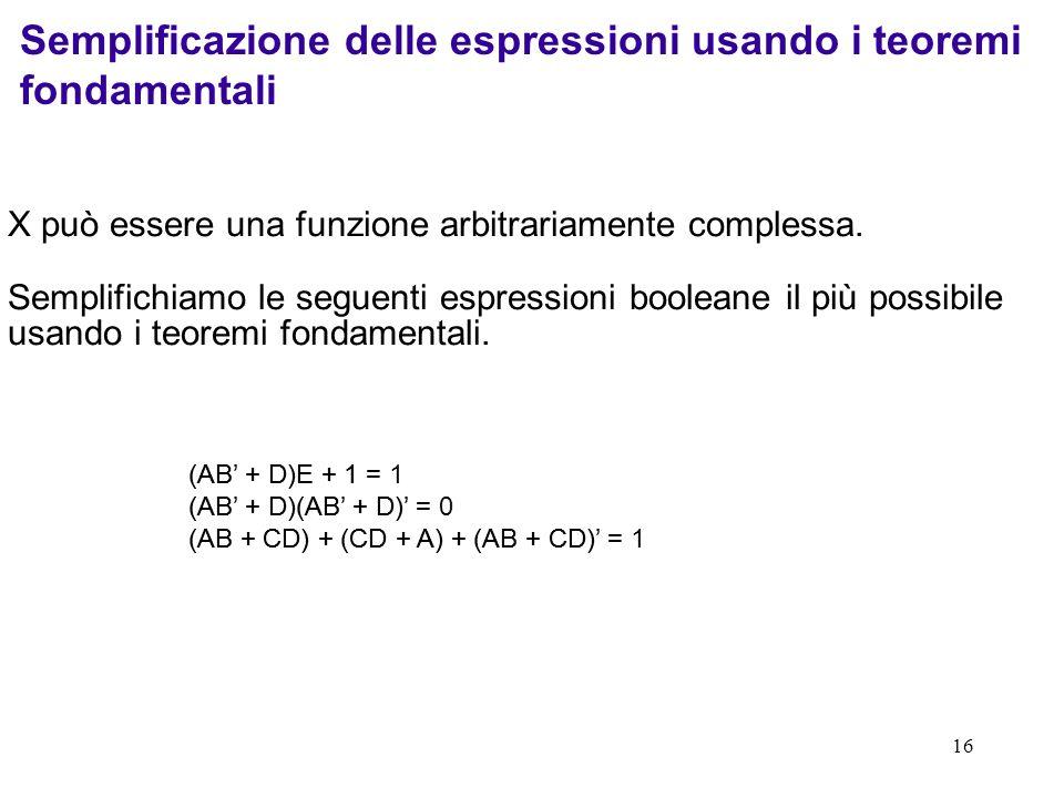 16 X può essere una funzione arbitrariamente complessa. Semplifichiamo le seguenti espressioni booleane il più possibile usando i teoremi fondamentali