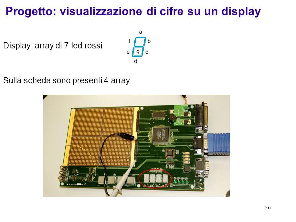 56 Display: array di 7 led rossi Progetto: visualizzazione di cifre su un display Sulla scheda sono presenti 4 array