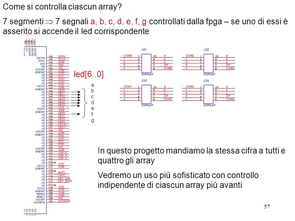 57 Come si controlla ciascun array? 7 segmenti 7 segnali a, b, c, d, e, f, g controllati dalla fpga – se uno di essi è asserito si accende il led corr