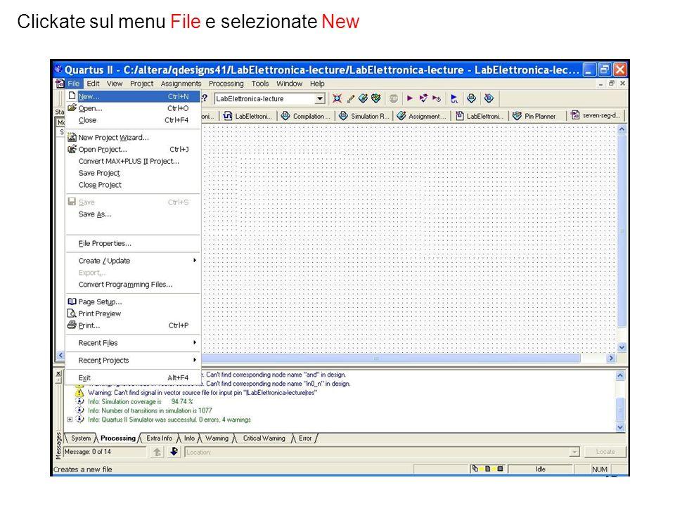62 Clickate sul menu File e selezionate New