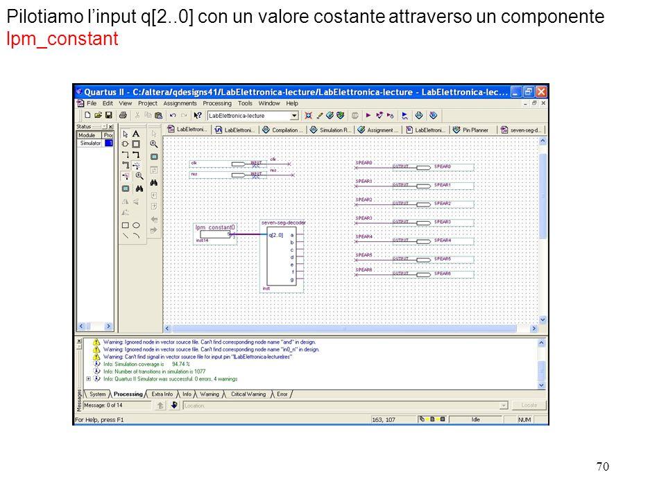 70 Pilotiamo linput q[2..0] con un valore costante attraverso un componente lpm_constant
