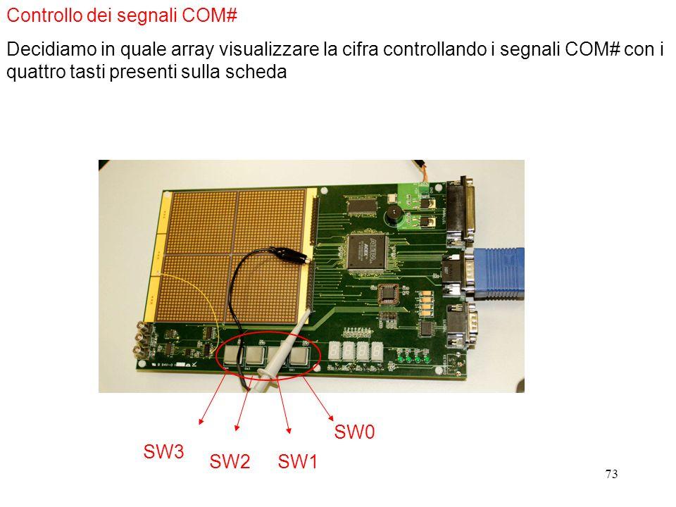73 Controllo dei segnali COM# Decidiamo in quale array visualizzare la cifra controllando i segnali COM# con i quattro tasti presenti sulla scheda SW0